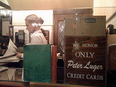 A Photo Inside The Peter Luger Steak House Which Doesn't Take American Express
