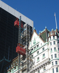 Construction Work At The Landmark Plaza Hotel, Near Central Park In