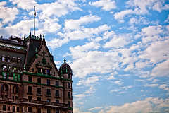 Beautiful Sky In Front Of The Plaza Hotel Located On Central Park South