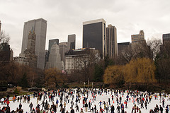 A Wonderful Time To Ice Skate In Central Park With The Plaza Hotel In The Background