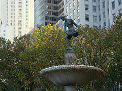 Statue Of Pomona In The Pulitzer Fountain In Front Of The Legendary Plaza Hotel Nyc.