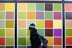 A Colorful Display Of Squares Outside The Port Authority Bus Terminal