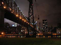A Nighttime View Looking Up At The Queensboro Bridge.