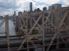 Looking Down At The Queensboro Bridge On A Cloudy Day.