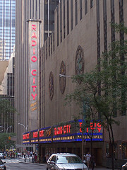A Gloomy Shot Of The Radio City Music Hall On 6th Avenue