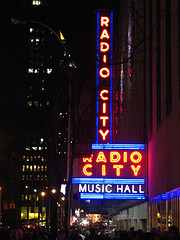 A Nighttime View Of Radio City Music Hall.