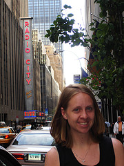 A Photo In New York City's Rockefeller Center With The Radio City Music Hall In The Background