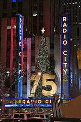 A Nighttime Photograph From The 75th Anniversary Of The Radio City Music Hall.