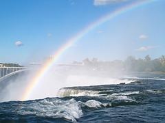 A Rainbow In Front Of The Rainbow Bridge Near Niagara Falls.