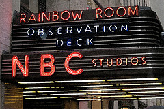 A Picture Of The Overhang Sign For The Rainbow Room, Which Is Closed Due To The Recession