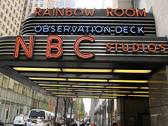 The Sidewalk Entrance Sign To The Rainbow Room At Nbc Studios