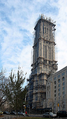 The Riverside Church During Its Repairs To The Outside Of The Tower