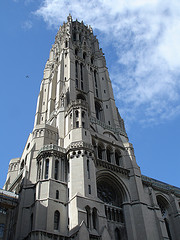 A Shot Of The Tower Of The Riverside Church Against A Blue Sky
