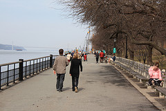 Waterside During A Cool, Brisk Day At The Riverside Park In Manhattan