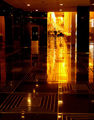 Beautifully Lit Photograph Taken Inside The Lobby Of Rockefeller Center