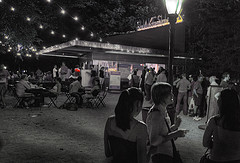 Night Time At The Shake Shack, Located In Madison Square Park