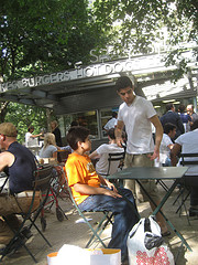 Patrons At The Original Location Of The Shake Shack In Madison Square Park