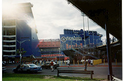 People Stand Outside Of Shea Stadium