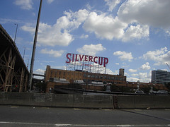 The Large Red Sign Of Silver Cup Studios, Adjacent The Highway