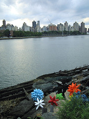 Colorful Sculptures And The New York City Skyline Taken From Socrates Sculpture Park