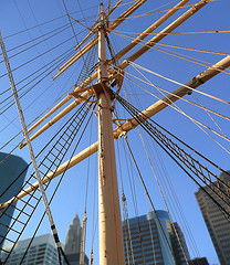 A View Of Ships Masts In South Street Seaport