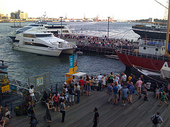 A Busy Day At The South Street Seaport, A Historical District Just South Of Wall Street