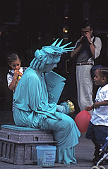 Statue Of Liberty, Impersonator, Chats With Children At South Street Seaport