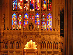 A View Of Stained Glass Windows In St. Patrick's Cathedral