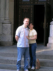 St. Patrick's Cathedral In New York Shows A Happy Couple.