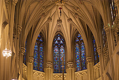 Brilliantly Lit Stained Glass Windows Of St. Patrick's Cathedral, New York