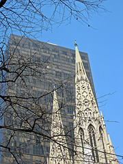 The Spires Of St. Patrick's Cathedral, New York, On A Clear Winter Day.