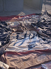 A Banner From The Staten Island Yankees, Ripped Down By The Wind.
