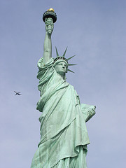 The 151 Foot Tall Statue Of Liberty, Shot In Her Majestic Glory, Dedicated In 1886.
