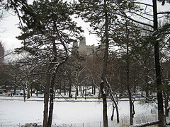 A Black And White Photo Of The Beresford In The Winter Time.