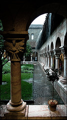 A Photo Of The Cloisters In The Middle Of A Rain Storm.