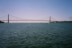 A Lovely River shot Of The Narrows Bridge In New York