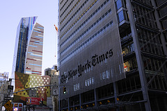 One Of The Best Known Publications In America, The New York Times Building Seen Here Watching The World Go By.