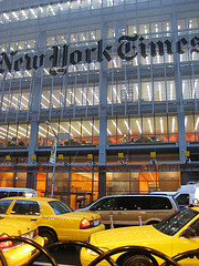 Traffic Is Backed Up With Yellow Taxis Outside The New York Times Building.