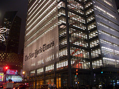 The Impressive Facade Of The World Famous New York Times Lights Up The Street.
