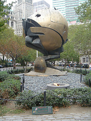 A Photo Of The Sphere Moved To Battery Park To Help Honor Those Lost In The World Trade Center Collapses