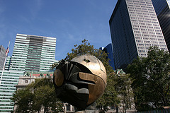 Up Close And Personal With The Sphere Recently Moved To Battery Park