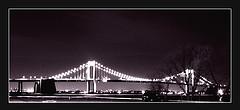 A Scenic Wide Camera Shot Of The Throggs Neck Bridge At Night