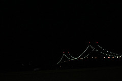 Lights On The Throggs Neck Bridge Over The East River.