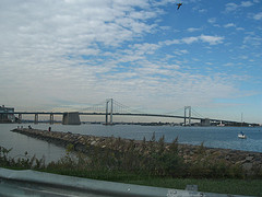 Throgs Neck Bridge Spanning The East River Between The Bronx And Queens