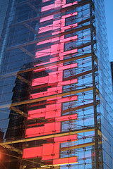 A Colorful Pink Design On The Time Warner Building