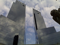 Looking Up To The Time Warner Buildings On A Pleasant Day In New York.