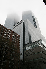 Looking Up At The Time Warner Building Covered In Dense Fog