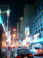 Even At Night Times Square Is Wide Awake And Jammed With Traffic.