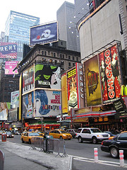 Bulletin Boards Advertising Broadway Shows Cover Times Square, A Major Intersection In New York.