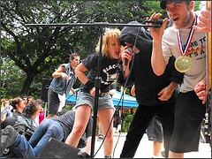 A Band Performs For A Crowd At Tompkins Square Park.